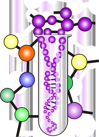 Illustration of test tube with DNA model Stock Photo