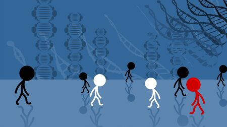 Illustration of people and DNA model