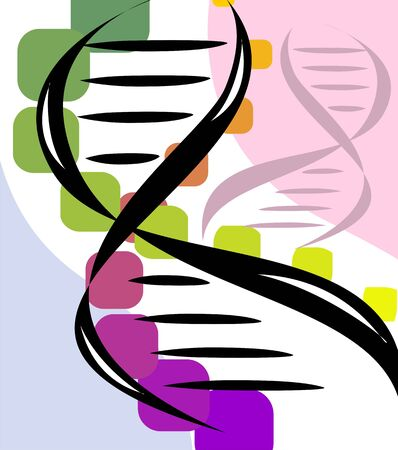 Illustration of black colour of DNA model Stock Photo
