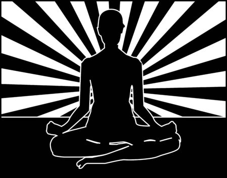 Illustration of yoga man relaxing with background illustration