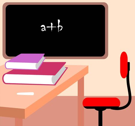 salle classe: Illustration de la salle de classe avec le livre, chaise, table et de Conseil  Banque d'images