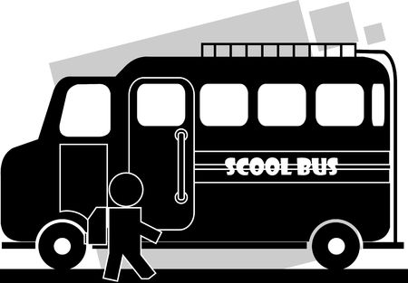 Illustration of school bus , boy and side the bus Stok Fotoğraf