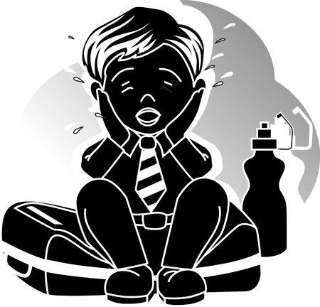 Illustration of boy crying with bag and bottle illustration