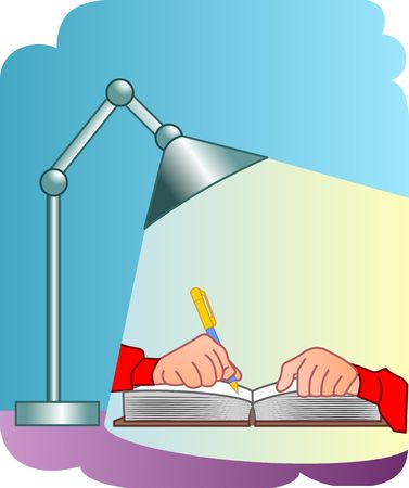 Illustration of boy writing in the study of book illustration
