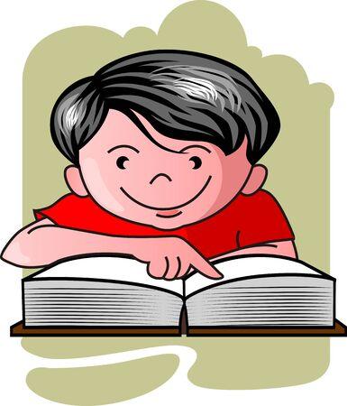 Illustration of boy reading in the book illustration