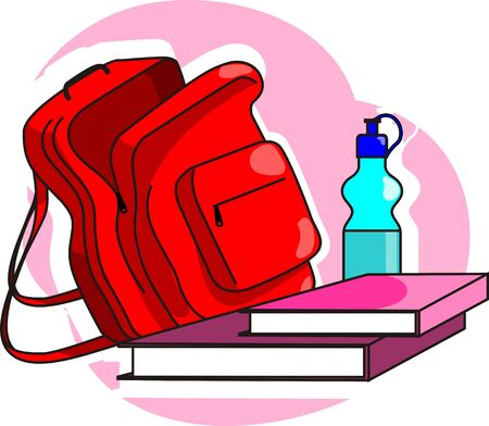 tiffin: Illustration of study equipments with bottle and Tiffin