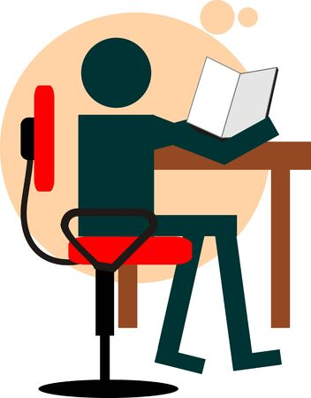 Illustration of boy sitting in the chair with study illustration