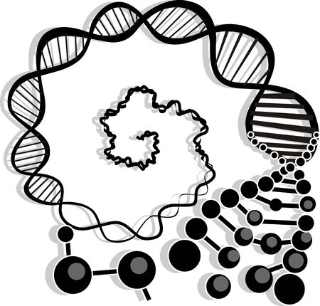 Illustration of ornaments model of DNA with bacteria