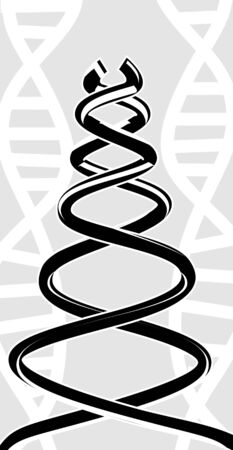 Illustration of silhoutte of DNA pattern illustration