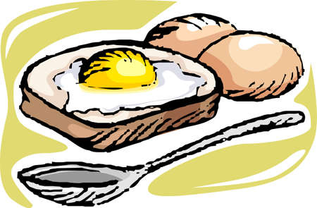 fryer: Illustration of bread with egg and spoon Stock Photo