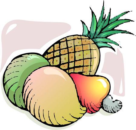 pine apple: Illustration of mango, pine apple and nuts Stock Photo