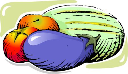 Illustration of eating food of vegetable and fresh food illustration