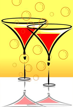 Illustration of goblets of drinks   illustration
