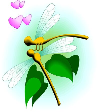 Illustration of two dragonfly with love symbols  illustration
