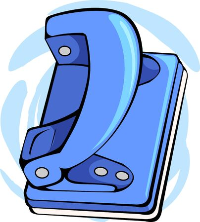 paper punch: Illustration of a blue coloured paper punch