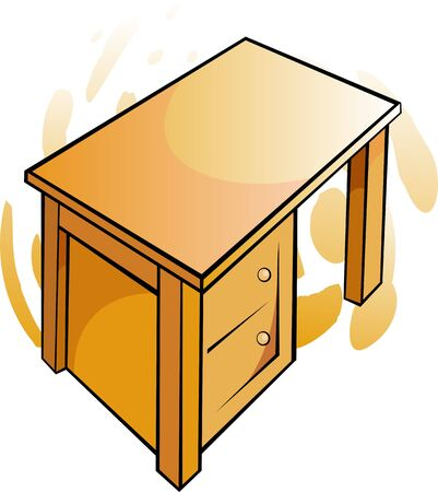 movable: Illustration of  yellow wooden table  Stock Photo