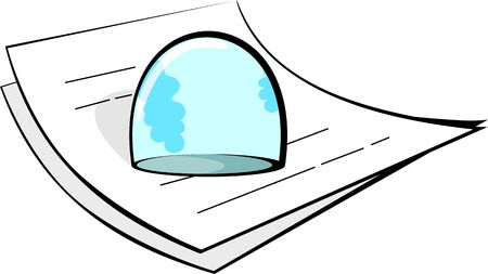 Illustration of a paperweight on op of papers  Stock Photo