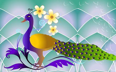 Illustration of pea cock on floral background  illustration