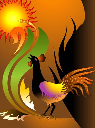 morning  cock: Illustration of cock chirm with sunrise in the morning