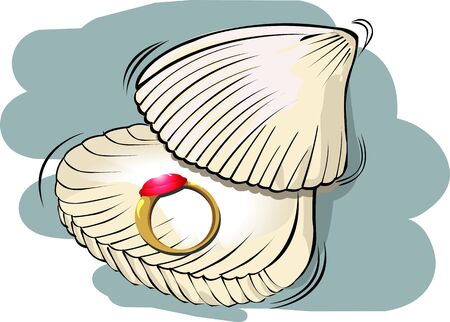Illustration of golden ring with sea    shell   illustration