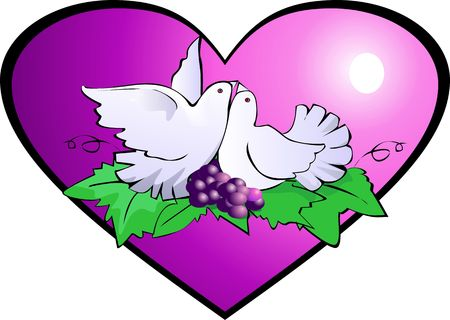 Illustration of pigeon with grapes and love  illustration