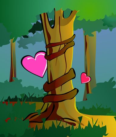 Illustration of tree with love symbols and background  illustration