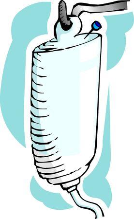 Illustration of drip bottle in stand and syringe   illustration