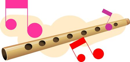 woodwind: Illustration of music instruments of flute with note