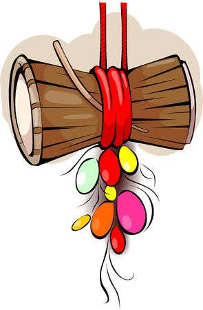 Illustration of music instruments of small drums and stick