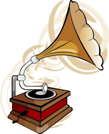 Illustration of a gramophone in radiant light