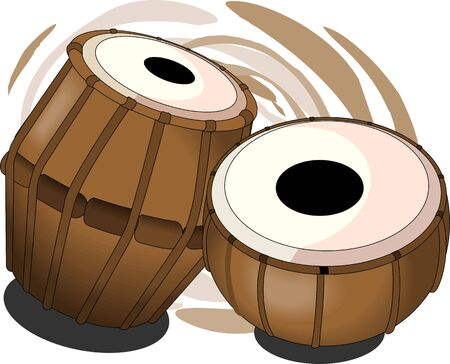 Illustration of a tabala, an Indian music instrument with music notes  illustration
