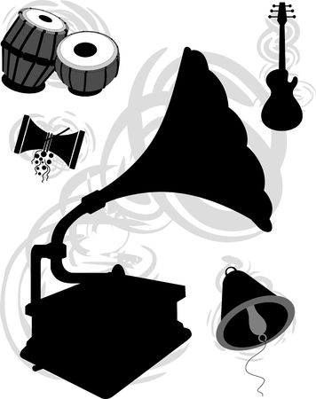 Illustration of silhouettes with music instruments  illustration