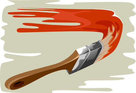 Illustration of paint brush and  wall to paint