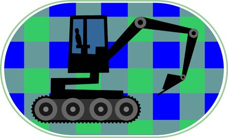 earth mover: Illustration of an earth mover machine moving   in a construction site.  Stock Photo