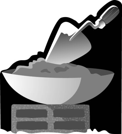 lump: Illustration of mixing cement in a metal bowl and lump  Stock Photo
