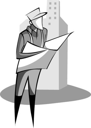building planners: Illustration of man watch in the  construction plan