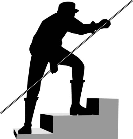 Illustration of silhouette of man working in the site  illustration