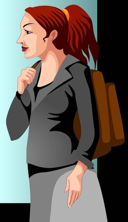 Illustration of business women with out bag  illustration