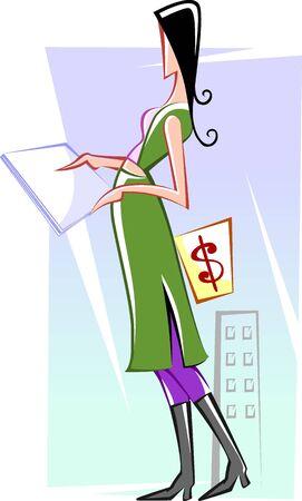 Illustration of business women reading the paper  illustration