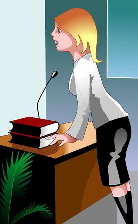 discourse: Illustration of business women discourse in business matter  Stock Photo