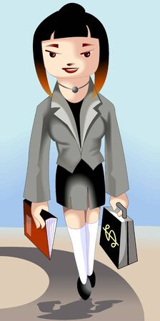Illustration of business women hands with bag and book  illustration