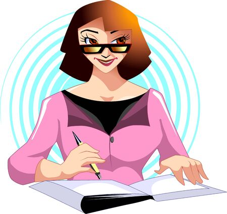 sincere: Illustration of business women writing in the book