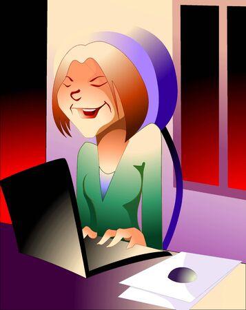 Ilustración de las mujeres de negocios trabajan en la computadora portátil Foto de archivo - 5868716