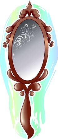 Illustration of brown mirror with glasses and colour background  Stock Photo