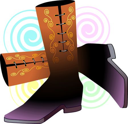 postmodern: Illustration of brown boots on a floral background.  Stock Photo