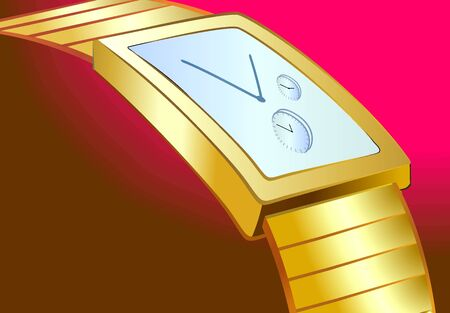 time keeping: Illustration of white dial wrist watch with gold strap