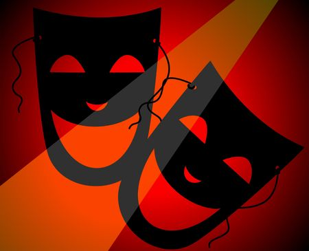 Illustration of two mask in a black shade background