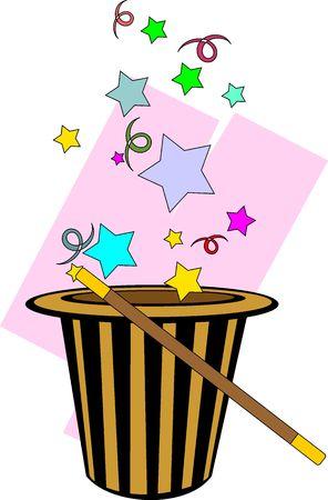 Illustration of magic hat and stick with magic design Stock Illustration - 5868982