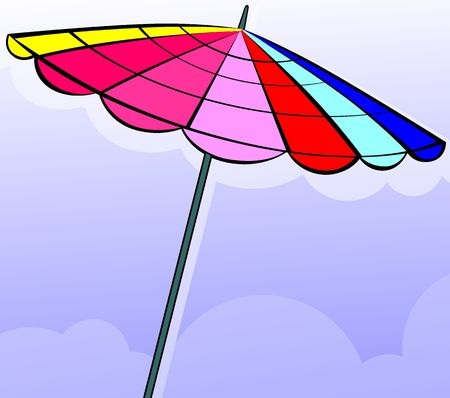 Illustration of umbrella with sky background  illustration