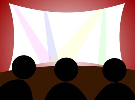 holiday blockbuster: Illustration of theatre with screen and people